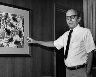Centers for Disease Control and Prevention - David Sencer points to a depiction of Triatomine sp., which transmits Chagas disease.