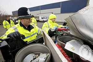 Metal theft - Police check a scrap van for questionable items (UK)