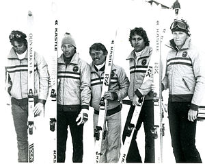 Australia at the 1980 Winter Paralympics - Andrew Temple, Kyrra Grunnsund, Ron Finneran, Steve Morowe, B.Abek (coach) at the 1980 Geilo Paralympic Winter Games