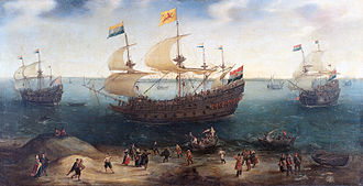 Paulus van Caerden - The Amsterdam four-masted ship 'De Hollandse Tuyn' and other ships under the command of Paulus van Caerden return from Brazil, by Hendrick Cornelisz Vroom