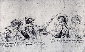 Bentvueghels - Anonymous drawing in the Museum Boijmans Van Beuningen, Rotterdam. From left to right: Joost from The Hague (bent-name Schotsen trommel), Cornelis (Poelenburgh) from Utrecht (bent-name ''Satier''), Wouter (Crabeth) from Gou (bent-name ''Almanack''), Tyman (Cracht) from Emster (bent-name Botterkull) and Peter from Leiden (bent-name Ram).