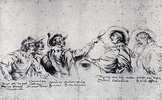 Bentvueghels - Anonymous drawing in the Museum Boijmans Van Beuningen, Rotterdam. From left to right: Joost from The Hague (bent-name Schotsen trommel), Cornelis (Poelenburgh) from Utrecht (bent-name ''Satier''), Wouter (Crabeth) from Gou (bent-name ''Almanack''), Tyman (Cracht) from Emster (bent-name Botterkull) and Peter from Leiden (bent-name Ram).