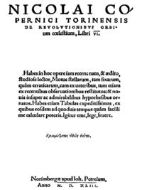 De revolutionibus orbium coelestium, første udgave, 1543