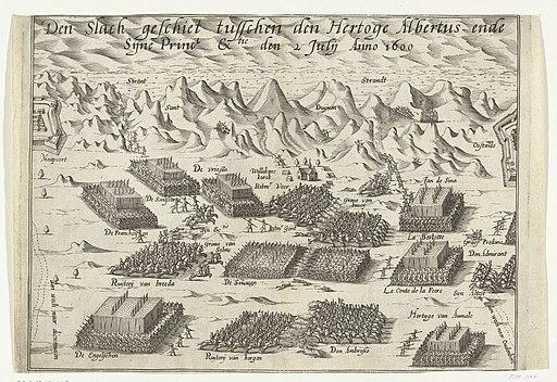 De slag bij Nieuwpoort, 1600 Den Slach geschiet tusschen den Hertoge Albrecht ende Sijne Prince Ex.tie den 2 Julij Anno 1600 (titel op object), RP-P-OB-80.548