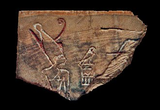 Den (pharaoh) - Fragment of an ivory label showing pharaoh Den wearing the double crown of Upper and Lower Egypt. Discovered in the tomb of Den, now in the Egyptian Museum.