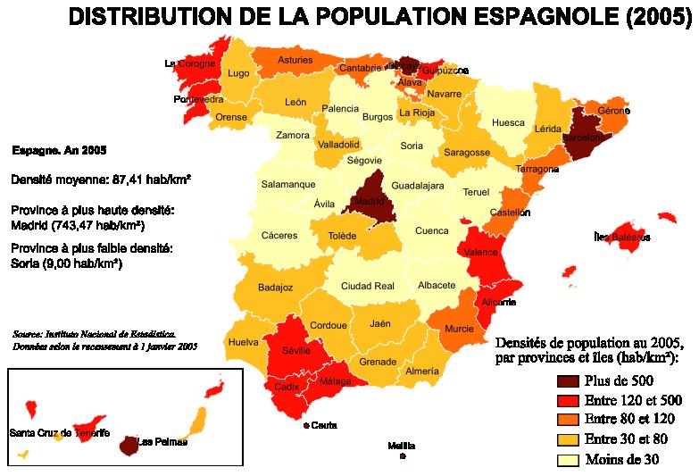 Densités de population en Espagne (2005)
