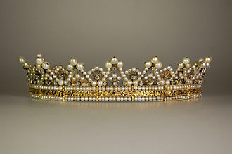 Tiara - Stéphanie de Beauharnais, Grand Duchess of Baden's pearl-and-diamond tiara, made circa 1830 and currently in the museum at Mannheim Palace