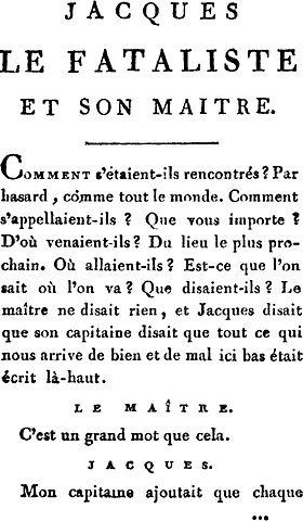 Denis Diderot. Jacques le fataliste et son maître