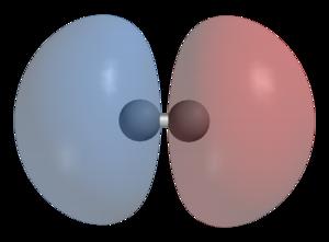 Antibonding molecular orbital - Image: Dihydrogen LUMO phase 3D balls