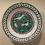 Dish with coursing hound, hare, and stag, Iznik ware, Turkey, Iznik, Ottoman period, c. 1580-1585, earthenware with underglaze polychrome painting - Cincinnati Art Museum - DSC04099.JPG