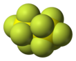 Space-filling model of disulfur decafluoride