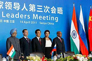 3rd BRICS summit - Picture of the BRICS national leaders at the event.