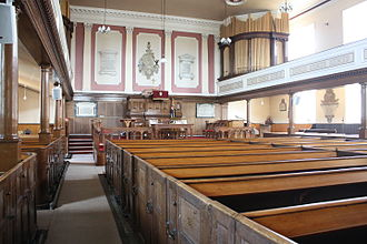 Philip Doddridge - Interior of the Chapel showing box pews and galleries