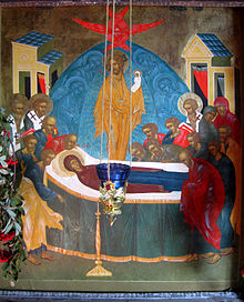 Icona ortodossa della Dormitio Virginis, con il Cristo che raccoglie l'anima di Maria