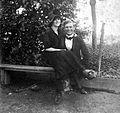 Double portrait, man, woman, garden, bench, smile Fortepan 2437.jpg