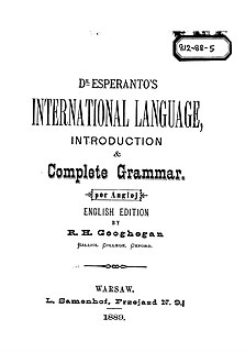 <i>Unua Libro</i> Pamphlet by L. L. Zamenhof, first published in 1887 in Russian and subsequently in other languages, introducing the language Esperanto for the first time