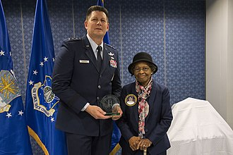 Global Positioning System - Air Force Space Commander presents Dr. Gladys West with an award as she is inducted into the Air Force Space and Missile Pioneers Hall of Fame for her GPS work on Dec. 6, 2018.