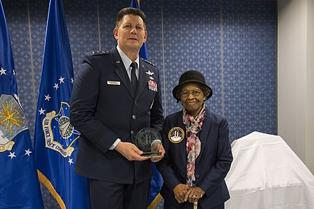Air Force Space Commander presents Gladys West with an award as she is inducted into the Air Force Space and Missile Pioneers Hall of Fame for her GPS work on Dec. 6, 2018. Dr Gladys West.jpg