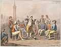Drawing, Water color; Rinaldo Rinaldini is reciting upon the jetty, 1828 (CH 18329741).jpg