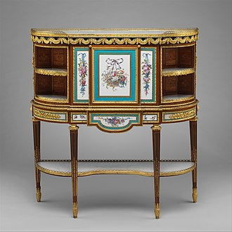 Louis XVI furniture - Drop-front desk by Martin Carlin; oak veneered with tulipwood, amaranth, holly, and sycamore; six Sèvres soft-paste porcelain plaques and two painted tin plaques; gilt-bronze mounts; marble shelves; moiré silk (1776) Metropolitan Museum of Art.