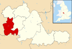 Dudley Metropolitan Borough shown within West Midlands