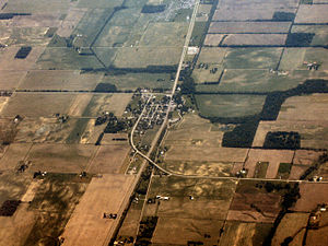 Dunreith, Indiana - Dunreith from the air, looking east.