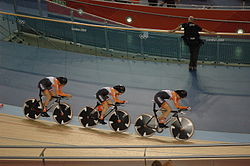 Dutch women's team pursuit team at the 2012 Summer Olympics (Ellen van Dijk, Amy Pieters and Vera Koedooder)