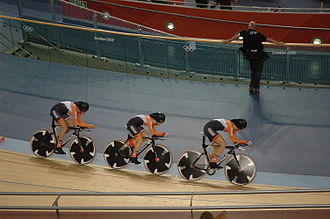 Cycling at the 2012 Summer Olympics – Women's team pursuit - The Dutch team (Ellen van Dijk, Amy Pieters, Vera Koedooder) riding the final for 5th place