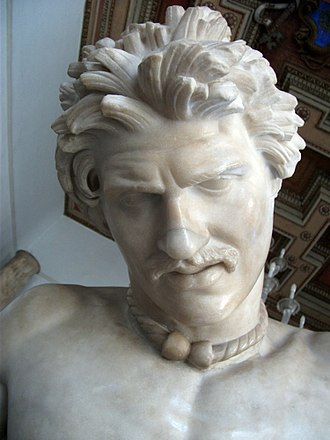 Dying Gaul - Detail showing the face, hairstyle and torc of the sculpture.