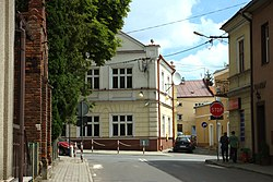 A crossroad in the very center of the town of Dynów