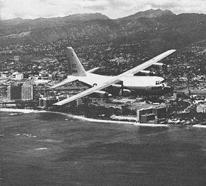 Fleet Air Reconnaissance Squadron 3 (United States Navy) - An EC-130Q of VR-21 off Hawaii, circa 1964.