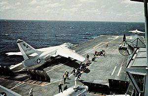 EKA-3B VAQ-130 on cat of USS Oriskany (CVA-34) 1970.jpg