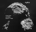ESA Rosetta NAVCAM Agilkia landing site on comet 67P 20141106 mosaic-it-labelled.PNG