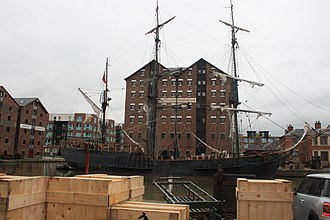 Earl of Pembroke (tall ship) - Image: Earl of Pembroke (tall ship) in Gloucester Docks (renamed as The Wonder) for filing of Alice in Wonderland Through the Looking Glass 03