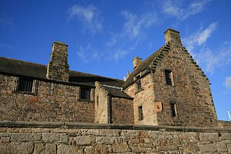Aberdour Castle - The 17th century wing of the castle, showing the sundial