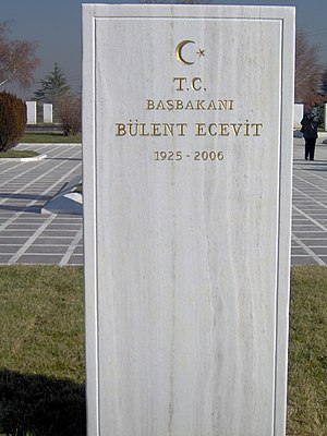 Bülent Ecevit - Ecevit's tomb at the State Cemetery in Ankara, Turkey.