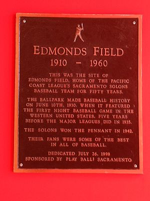 Edmonds Field - Dedication plaque placed at the site in 1998