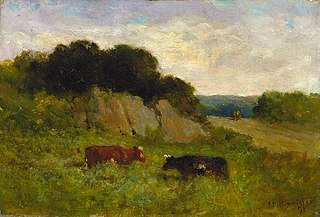 Untitled (landscape with two cows)