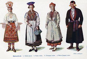 Estonians - Estonian national costumes: 5. Muhu 6. Karja 7. Tõstamaa 8. Pärnu-Jaagupi