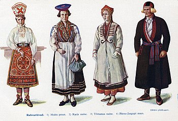 Estonian national costumes: 5. Muhu 6. Karja 7...