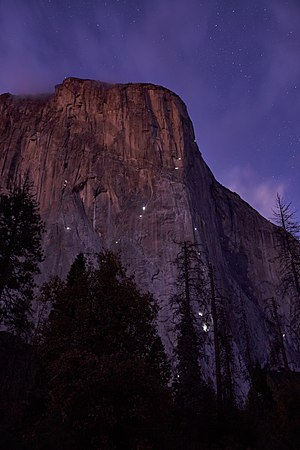 Lights of Climbers staying over night in the wall of El Capitan