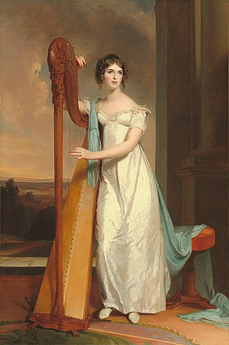 Pedal harp - Lady with Harp: Eliza Ridgely, depicts a Regency-era single-action pedal harp (Thomas Sully, 1818)