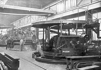 BL 6 inch gun Mk II – VI - Mk IV or VI gun on disappearing mounting under construction at the Royal Carriage Factory, Woolwich, 1890s