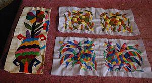 Tenango embroidery - Small panels of tenango embroidery showing detail done by Elvira Clemente Gomez of Santa Monica, Tenango de Doria