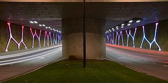 Emmen, Netherlands - Hondsrugtunnel with light art: 'Dolmen Light' by Titia Ex