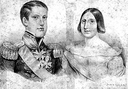 Half-length monochrome portrait of a man wearing an elaborate uniform on the left, and a much shorter woman on the right who has a severely plain hairstyle, large nose, and closely-spaced eyes