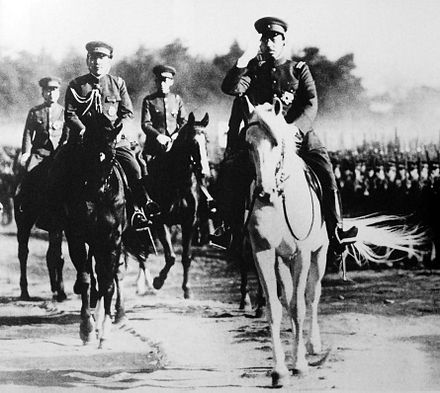 Emperor Showa during an Army inspection on January 8, 1938 Emperor Showa Army 1938-1-8.jpg