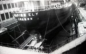 SS Eleni (1947) - Empire Ely in a dry dock in London