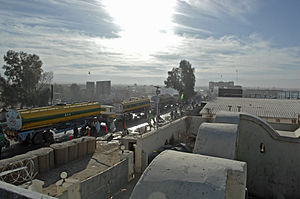 Empty fuel trucks crossing border into Pakistan in February 2010.jpg