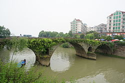 Fuyang as seen from the left bank of the Fuchun River